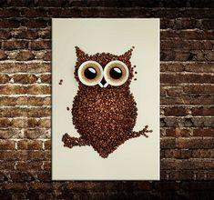 """Moderne nouvelle idée design """" grains de café et un hibou """" toile peinture wall art image pour la maison décorations"""