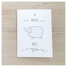 Whaley Miss you // miss you card cute miss you card whale card pun card birthday card funny card for her for him whale punny pun Birthday Quotes Funny For Him, Birthday Cards For Him, Funny Birthday Cards, Birthday Gifts For Boyfriend, Card Birthday, Diy Cards For Boyfriend, Birthday Puns, Birthday Card Drawing, Cute Miss You