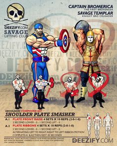 shoulder superset: captain america plate front raise and ribbons