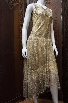 1920s Silver Lamé Lace Dress | From a collection of rare vintage evening dresses and gowns at https://www.1stdibs.com/fashion/clothing/evening-dresses/