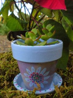 Baby Blue and Purple Small Hand Painted Flower Pot