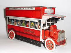 RARE 1910's GENERAL OMNIBUS TIN LITHO TOY BISCUIT BOX LONDON BUS by B.W.& M…