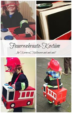 Feuerwehrauto-Kostüm, mit Bastelanleitung Fire engine costume from an old cardboard box. For Carnival, Halloween or just like that. – Fire Truck Costume – www. Crafts For Boys, Diy For Kids, Diy And Crafts, Fireman Crafts, Puppets For Kids, Backyard For Kids, Fire Engine, Nature Crafts, Clay Crafts