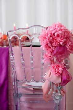Acrylic chairs are all the rage now!  And the bridal chair decorated with flowers is fab!
