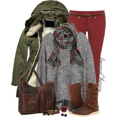 Olive and red Fall Outfits, Boot Outfits, Fashion Outfits, Womens Fashion, Military Fashion, Military Style, Military Green, What I Wore, What To Wear