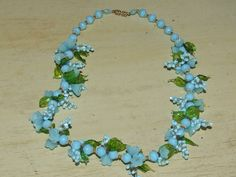 Vintage 1930s Italy Aqua Turquoise Glass Murano Venetian Flower Leaves Necklace | eBay