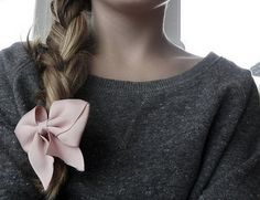 Big Braid + Pink Bow = LOVE