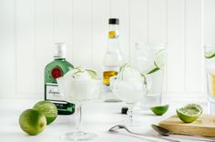 Keep this elegant Gin and Tonic Sorbet recipe in mind as you dust off the ol' ice cream maker this year. Cocktails, Party Drinks, Cocktail Drinks, Fun Drinks, Yummy Drinks, Alcoholic Drinks, Cocktail List, Mixed Drinks, Ice Cream Maker