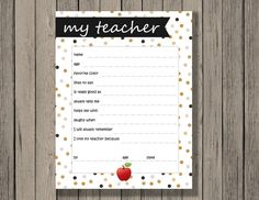 Last minute teacher appreciation gift! All about my teacher printable - funny and sweet gift for the end of school year. Printables by Chaos Made Simple.
