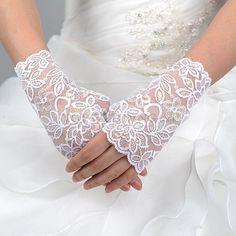 White Wrist Length Fingerless Lace Wedding Gloves