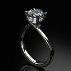 simple engagement rings | Hand Made Diamond Engagement Ring by Jewelsmiths | CustomMade.com