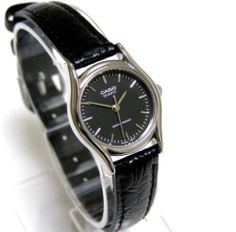 3d3468016a9 Casio Black Face Black Leather Band Ladies Watch