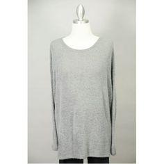 Charcoal Grey Long Sleeve Knit Sweater Thumbnail
