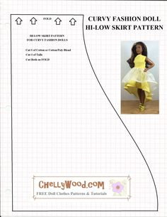 Free printable sewing patterns for doll clothes to fit the new Curvy Barbie from Mattel's Fashionista line at ChellyWood.com