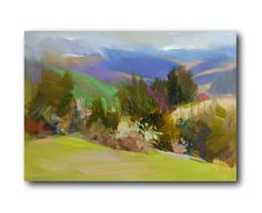 Abstract Landscape Oil Painting Modern Green Nature by Pysar, $288.00