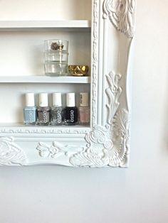 Gold baroque 16x20 frame display polish rack salon for Bathroom medicine cabinets 16x20