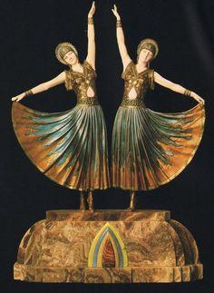 Art Deco bronze dancers, after Demetre Chiparus (1886-1947).