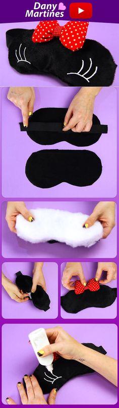 Faça você mesmo uma máscara de dormir da Minnie, super fofinha, diy , do it yourself, Mickey, tapa olho, pelucia