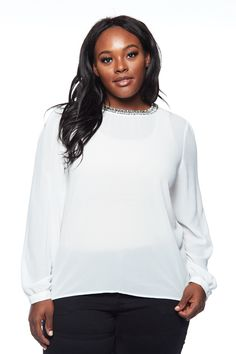 ACTIVE USA CHIFFON BEDAZZLED BELL SLEEVES LONG SLEEVES TOP #bellsleeves #longsleeves #plussizetop