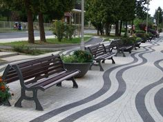 Are you a fan of this paving detail? Image: BENITO URBAN install street furniture in Hungary. -The LA Team  www.landarchs.com