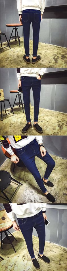 Winter  stretch jeans men's slim feet type blue trousers pants male students skinny jeans men fashion design YF009