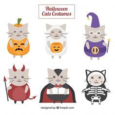 Coleção de gato fofo disfarçado de halloween Vetor grátis