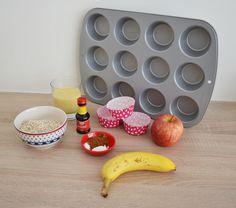 Ontbijt muffins met havermout, appel en banaan. Bijzonder: de speculaaskruiden