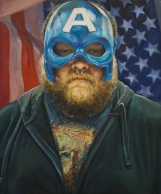 """Star Spangled Avenger, oil on canvas, by Erica Day, $900—from the """"Wish List"""" exhibition in the 117 Gallery at the Ann Arbor Art Center"""
