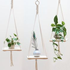 ● D E S C R I P T I O N This macrame hanging shelf is handmade with neutral 100% cotton macrame cord and has a nice and sturdy ring for hanging. The shelf is made of natural rubberwood (hardwood). · Designed & handcrafted in the Netherlands · The hanging shelf is shipped in a gorgeous