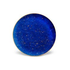 Host an opulent dinner party with this set of four Lapis canapé plates from L'Objet. Crafted from blue Limoges porcelain, each plate is enhanced with flecks of 24ct gold & emulates the beauty of gl...