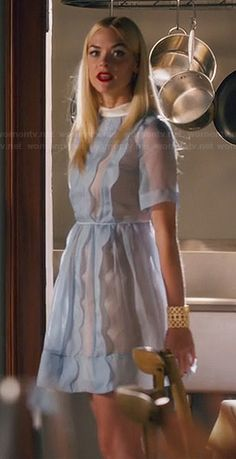 Lemon's sheer blue scalloped dress on Hart of Dixie.  Outfit Details: http://wornontv.net/45317/ #HartofDixie