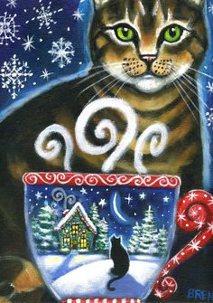 Christmas Magic  - 5x7 print - by Brenna White - winter Christmas tabby cat snow stars moon