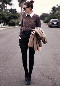 Fall outfit. Shorts. Tights. Sweater.