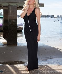 Another great find on #zulily! Black Zip-Front Maxi Dress by White Mark #zulilyfinds