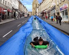 Park and Slide by Luke Jerram. This giant water slide is currently awaiting final permissions from the City of Bristol, UK. Over people signed up for a ticket for a chance to slide down the street. Park Street Bristol, Bristol City Centre, Bristol Uk, Bristol England, Giant Water Slide, Water Slides, We Built This City, Cities, Slip N Slide