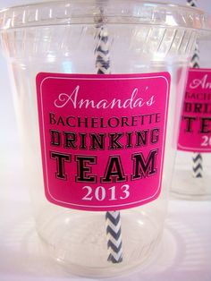 Bachelorette Party Drinking Team, Plus Bride Cup, Personalized on Etsy, $14.32 CAD