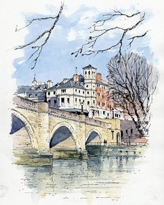 John Edwards (@johnedwardsart) в Instagram: «Sketch of the 18th-century Richmond Bridge from the path by the River Thames - #aquarell #art #painting #watercolor #watercolour #sketch #paint #drawing #sketching #sketchbook #travelbook #archisketchery #sketchaday #sketchwalker #sketchcollector #traveldiary #topcreator #usk #urbansketch #urbansketchers #скетчбук #скетч #скетчинг #pleinair #aquarelle #watercolorsketch #usk #architecture #painting #illustration