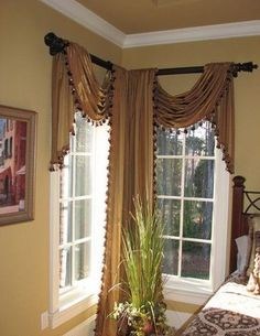 luxury classic curtains and drapes corner curtains designs New catalog of classic luxury curtains and drapes 2018 with the best classic curtains designs and drapery designs 2018 for all rooms living room, kitchen, dining room Corner Window Treatments, Corner Window Curtains, Custom Window Treatments, Window Scarf, Luxury Curtains, Rustic Curtains, Curtains Living, Drapes Curtains, Neutral Curtains