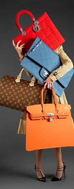 Louis Vuitton, Hermes, Chanel designer handbags. Wish I could afford them.