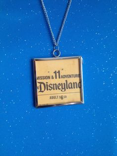 Vintage Disneyland Ticket Pendant Necklace