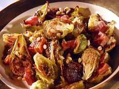 Look at this recipe - Bumped-up Brussels sprouts - from Guy Fieri and other tasty dishes on Food Network. Sprout Recipes, Vegetable Recipes, Wine Recipes, Food Network Recipes, Bobby Flay Recipes, Cooking Pumpkin, Sprouts With Bacon, Chicken Wing Recipes, Vegetable Sides
