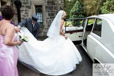 KMR Bride Diane wearing her bespoke wedding gown. Diane and Alec October 2014. Photo courtesy of Lloyd Siddall Photography