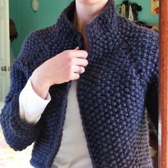 """This shrug has been my most popular pin on Pinterest for the past few weeks - and no wonder. It's not only smart and stylish, it's worked in a super bulky yarn, so it's quick, and, it's done all in one piece, so it's pretty easy! You have lots of options - here it is worked in beautiful Ushya. Snowdrift takes just 5 or 6 skeins of either Ushya or Rowan Big Wool for sizes up to 48."""" We have beautiful colors in both fibers on hand. Come get yours because you c..."""