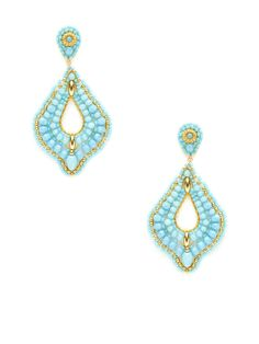 "$335      149  Turquoise Bead Open Teardrop Earrings by Miguel Ases  14K yellow gold fill and 18K yellow gold-plated brass open teardrop-shaped earrings with turquoise, Swarovki crystal, and Miyuki bead details  Post back closure Measurements: 2¾"" long, 1½"" at widest point"