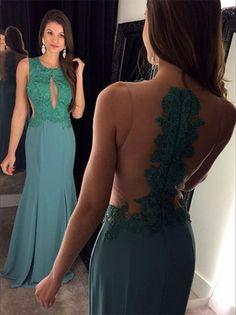 Pretty Green Prom Dresses,Backless Prom Dresses,Lace Prom Dresses,Sleeveless