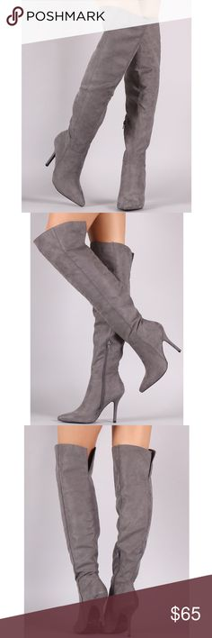 """Over the Knee Suede Boots Grey faux suede over the knee boots. See pic 4 for ACTUAL PIC of the item - photography done personally by me. Model is 5'9"""", 32""""-24""""-36"""" wearing the size 8. NO TRADES DO NOT BOTHER ASKING. PRICE FIRM. Boutique Shoes Over the Knee Boots"""
