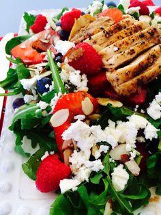 Triple Berry Arugula Salad.