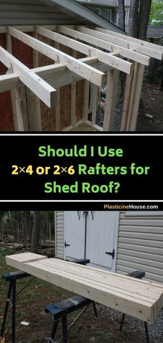 One of the main issues you will encounter when cutting rafters is, should you use or rafters for your shed roof? Porch Roof, Shed Roof, Screened In Porch, Shed Design, Roof Design, Lumber Sizes, Large Sheds, Roof Trusses, Gable Roof