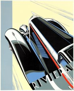 Riviera 1933 Duesenberg Coste, 1980s - original vintage poster by Coste listed on AntikBar.co.uk