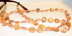 34 Apricot Mother of Pearl Beaded Lanyard Eyeglass by nonie615, $18.00